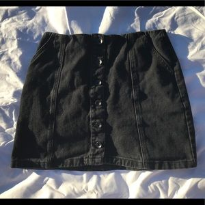 Black Denim Button Front Miniskirt